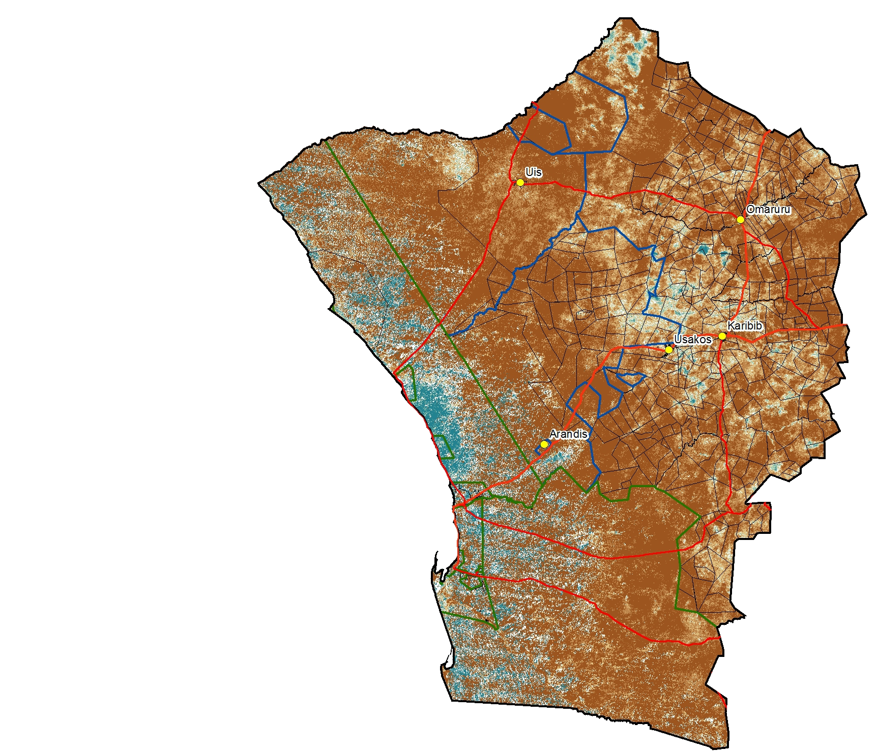 Namibia Rangelands Portal For Rangelands Condition Maps - Namibia map